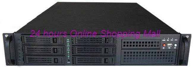 2u 6 hard drive hot plug hard drive dual cpu motherboard lengthen 2u computer case(China (Mainland))