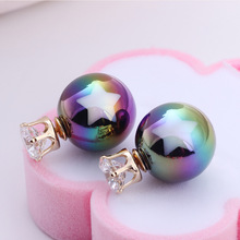 Bohemia Symphony AB Zircon Earrings stars two-color printing double-sided Pearl Earrings pendientes hombre orecchini(China (Mainland))