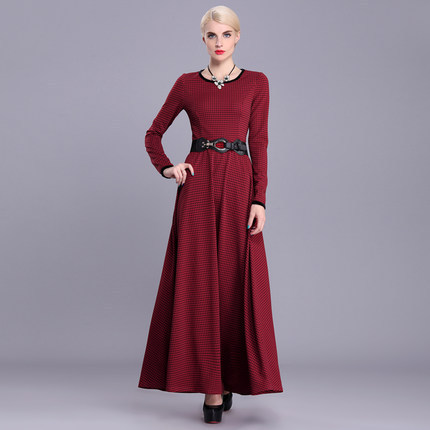 Muslim clothing Islamic long dress red plaid long sleeve maxi dress vintage slim fit female party dressОдежда и ак�е��уары<br><br><br>Aliexpress