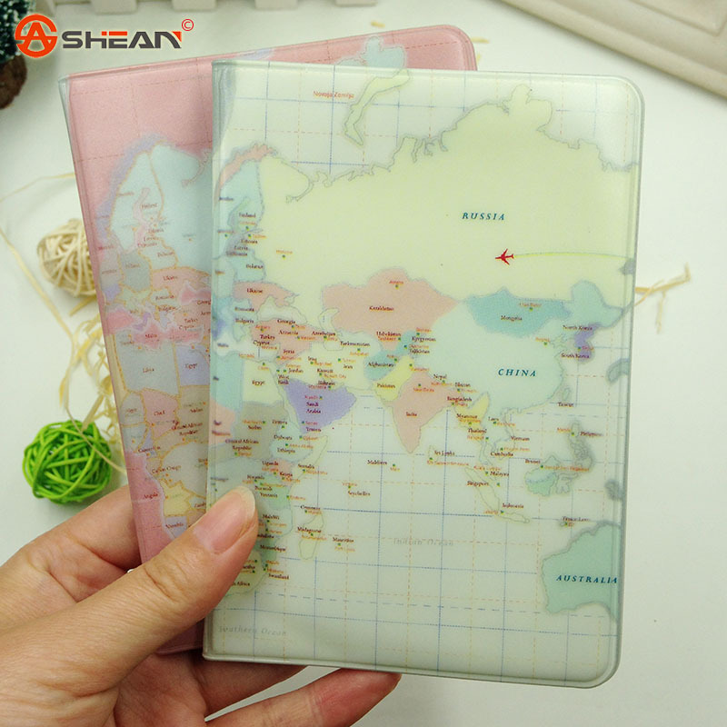 South Korean Imports of Female Models Passport Holder Card Package Men Applicable Map Passport Holder Protective