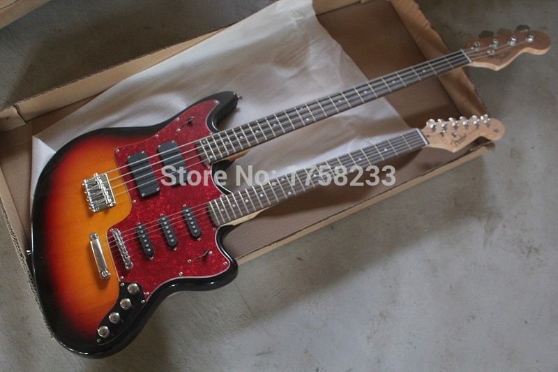 2019 2015 New Style Double neck Active pickups guitar 4 strings bass & 6strings electric guitar stratocaster custom body guitar(China (Mainland))