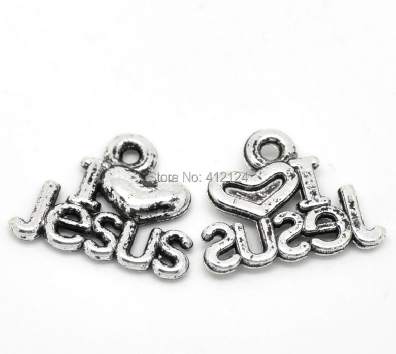 750Pcs Charm Pendants Antique Silver Tone I love Jesus Message Letters Jewelry Findings 16x13mm(5/8x4/8)<br><br>Aliexpress