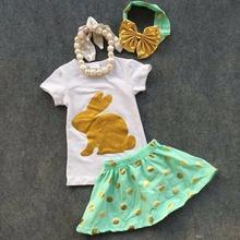 2016 nouveau bébé Ester jour lapin or paillettes manches courtes filles pâques tenues robe summer set tenues avec accessoires assortis(China (Mainland))