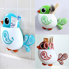 1pc New Lovely Funny Attractive Bird Pattern Tooth Brush Holder 4color Choice
