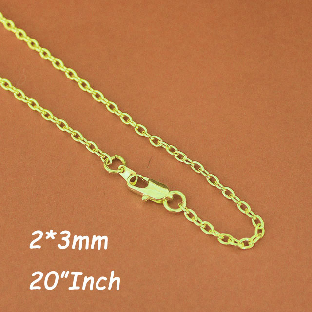 """20"""" 2mm Gold Plated Cable Chains Necklace With Square Clasps Links Connectors For Jewelry Pendants DIY Findings Accesories(China (Mainland))"""