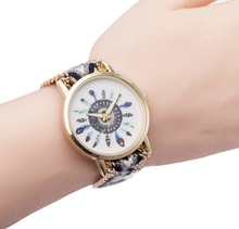 Women Quartz Watches Relogio Feminino Wrist Watches Famouus Brand Handmade Braided Twelve Feather Friendship Watch Rope Watch(China (Mainland))