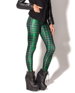 New Arrival Women 2016 Designed Digital Printed Spandex Pants Vintage font b Tartan b font Green