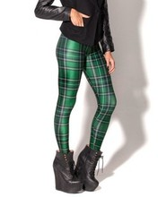 New Arrival Women 2016 Designed Digital Printed Spandex Pants Vintage Tartan Green Leggings Fashion