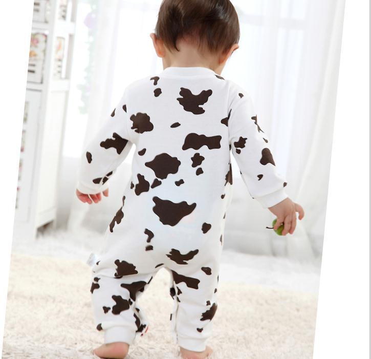 Free shipping Children pajamas newborn baby rompers long sleeve cotton bedding pajama boys girls autumn set cow animal(China (Mainland))