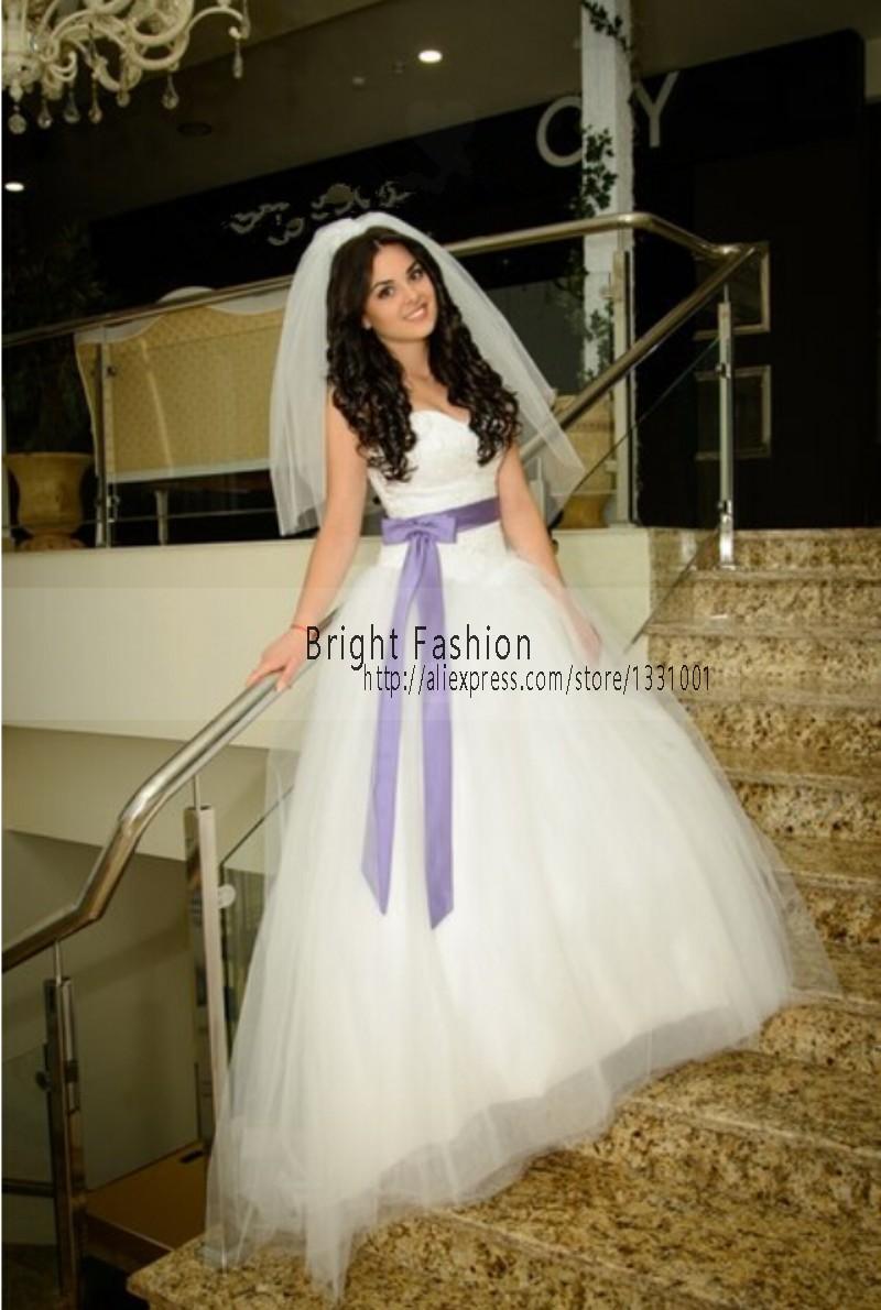 2015 Purple White Wedding Dress Sexy Puffy Wedding Dresses Ball Gown Long Women Bridal Dresses