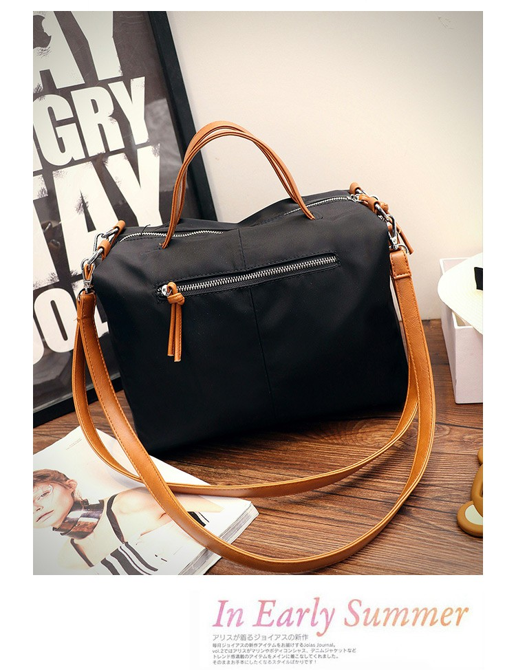 Trnedy Color-matching Canvas Handbag New Fashion Casual Motorcyle Bag Designer Contrast Color Large Shoulder Bag