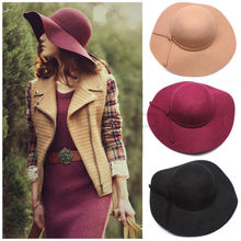 2015 Fashion Style Soft Women Vintage Retro Wide Brim Wool Felt Bowler Fedora Hat Floppy Cloche