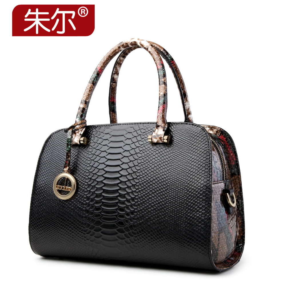 2015 serpentine pattern cowhide bags handbags women famous brand genuine leather handbag fashion messenger bag bolsas femininas