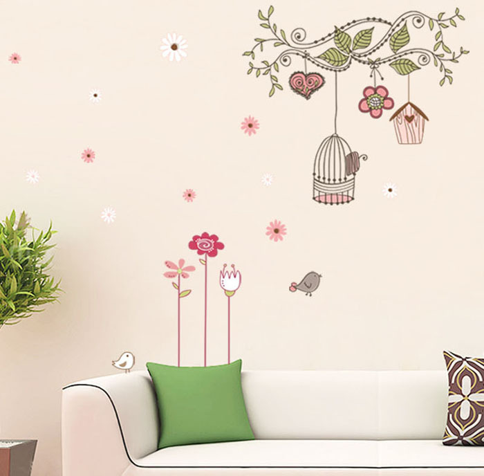 fashion Chinese style vintage home art decor wall stickers living room decals DIY branch bird cage ADESIVO DE PAREDE(China (Mainland))