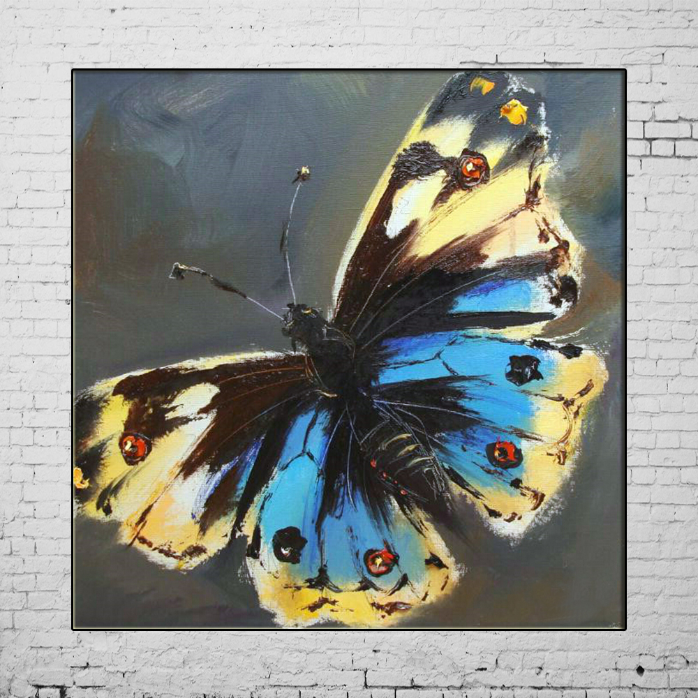 Hand painted butterfly picture canvas animals oil painting for Hand painting art