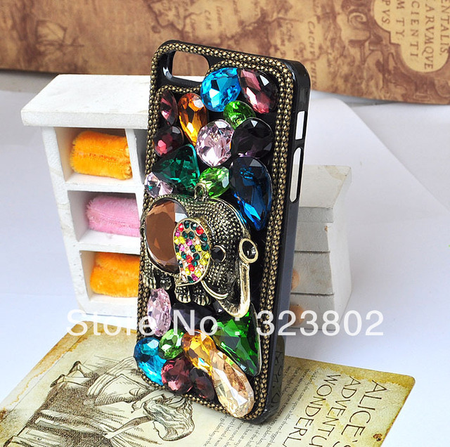 Retro Style Luxury Case Cover For iPhone 4 4s 5 Antique Bronze Brass Champagne Crystal and Colorful Rhinestone Elephant