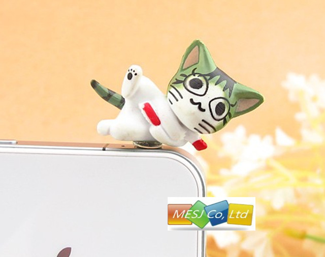 New 3D cute cartton Cheese cat 9 lovely designs Anti Dust earphone jack dustproof stopper set Plug pugs for iPhone 5 iPad 30pc
