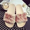 Fur Slippers Platform Shoes Women Sandals 2017 New Creepers Autumn Winter Flip Flops Casual Flats Slip