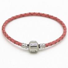 High Quality Silver Plated Bead Charm Bracelet Genuine Leather Bracelet Fit Pandora Women Bracelet Bangle Jewelry Men(China (Mainland))