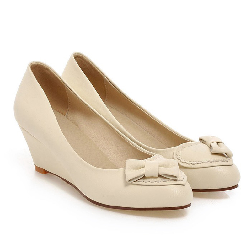 Chinese sweet dating style sexy pointed toe pump fashion bowknot blue green beige pink wedges med with women's shoes(China (Mainland))