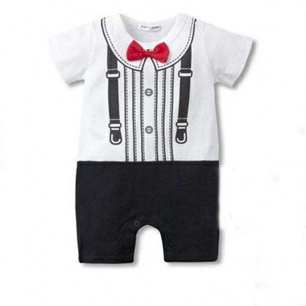 Baby Infant Newborn Boys Bodysuit Pajamas Kid Bodysuit Bowtie Clothes(China (Mainland))