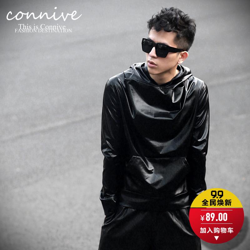 Free shipping !!! 2014 Original design autumn men fashion black long-sleeve basic slim with a hood leather sweatshirt / M-XL(China (Mainland))