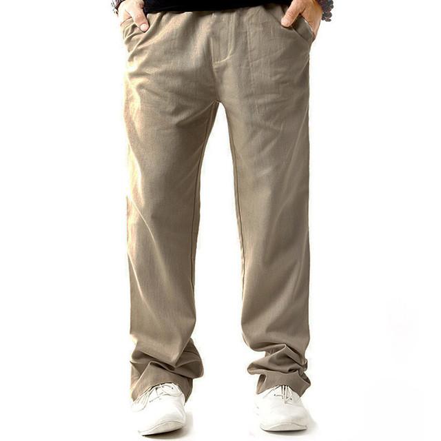 Мужчины лён брюки сталкивателем брюки удобные вилочная часть брюки свободного покроя ...