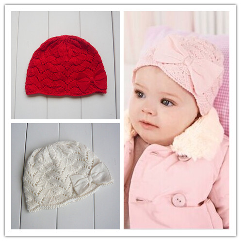 0-6 Years Old Autumn and winter newborn hat pure cotton 100% line bow baby female child baby knitted cap(China (Mainland))