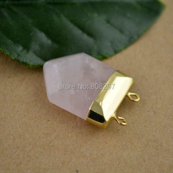 8Pcs Gold Plated & Druzy Rose Quartz Side Ways Stone Chakra Column Bead Pendant  Fit Necklace