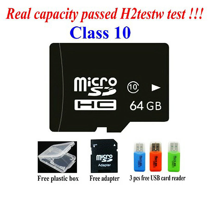 free shipping real capacity memory 2G 4G 8GB class 4 16GB 32GB 64GB class 10 micro sd hc card Pass h2testw + Free adapter reader(China (Mainland))