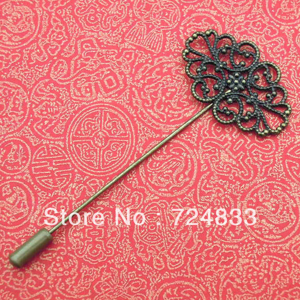 Antique Bronze Plated Copper Metal Blank Bases Filigree Flower Brooches Pins Safety-pins Diy Cameo Pins Settings Blank Wholesale(China (Mainland))