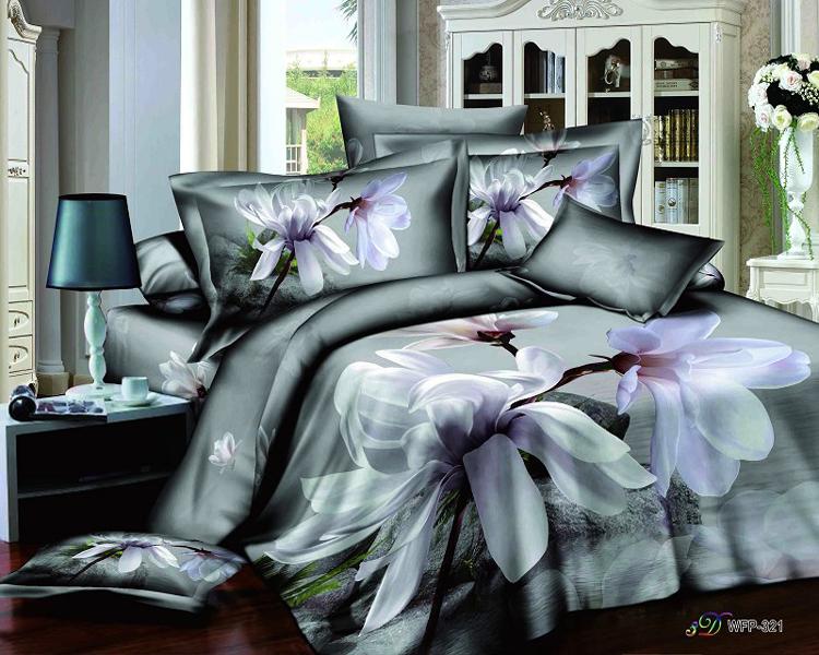 White Purple Flower Gray 3d Queen Size Modern Bedding