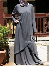4 Colors 2015 new robe islamic Irregular hem djellaba Rayon + elasticity long sleeve muslim dress and indian sari KJ-WAB30043(China)