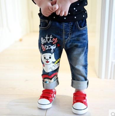 Здесь можно купить  wholesale(5pcs/lot)-The child B8711  boy and girl  cartoon letter autumn jeans   Детские товары