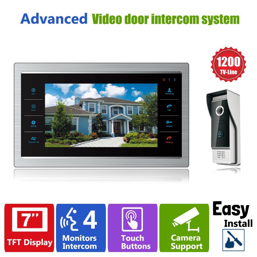 ysecu 7 tft 1200tvl door monitor video intercom home door phone recorder system sd tf card. Black Bedroom Furniture Sets. Home Design Ideas