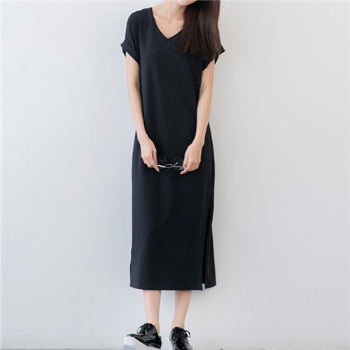 Summer Short Sleeve Loose Cotton V-Neck Casual Black Dress Plus Size Maxi Dress Shirt Tunic Long Dress Oversize Vestidos #A83(China (Mainland))