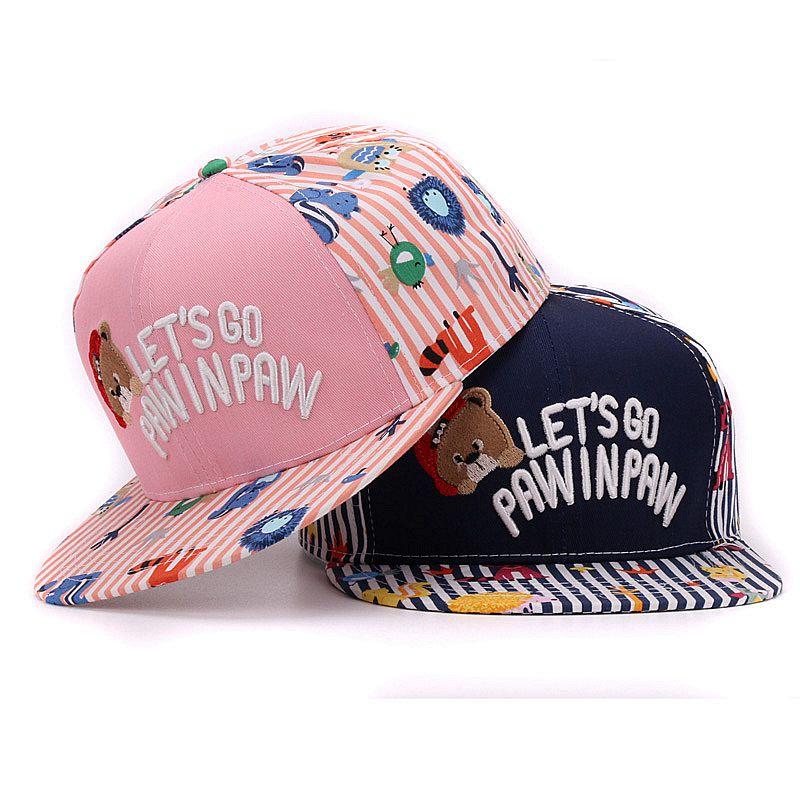 Fashion kids snapback cap cute bear embroidery flat baseball cap children hip hop hat for boys and girls(China (Mainland))