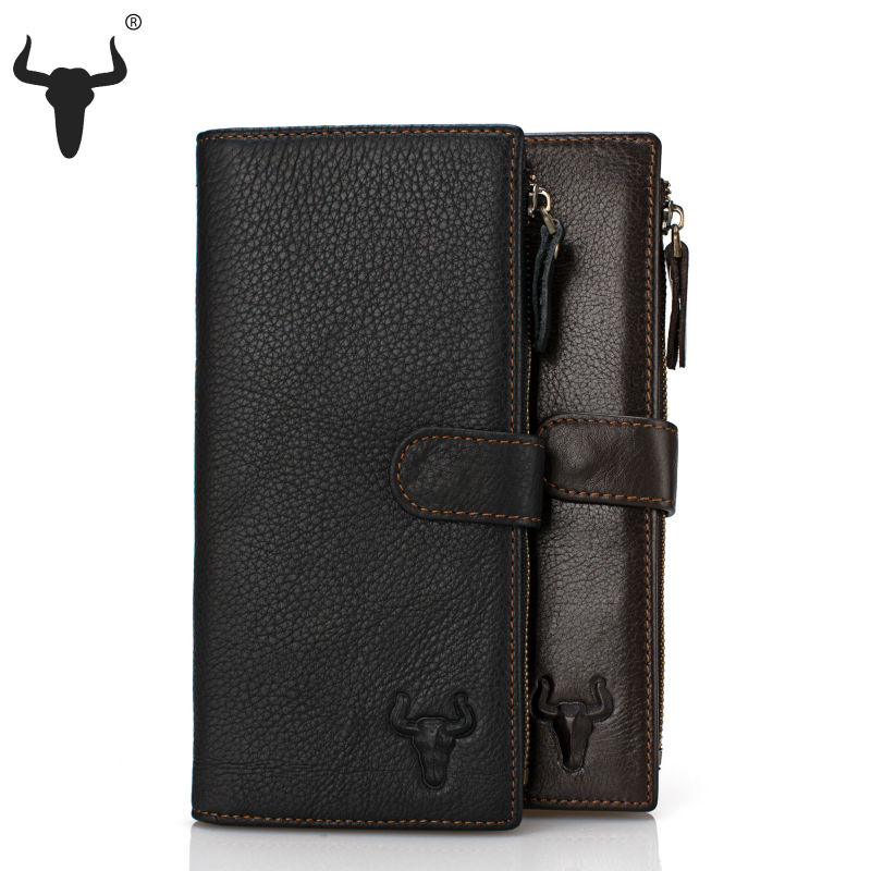 2015 New Casual Top Genuine Leather Wallet Cowskin High Quality Long Design Organizer Travel Purse Practical Free Shipping(China (Mainland))