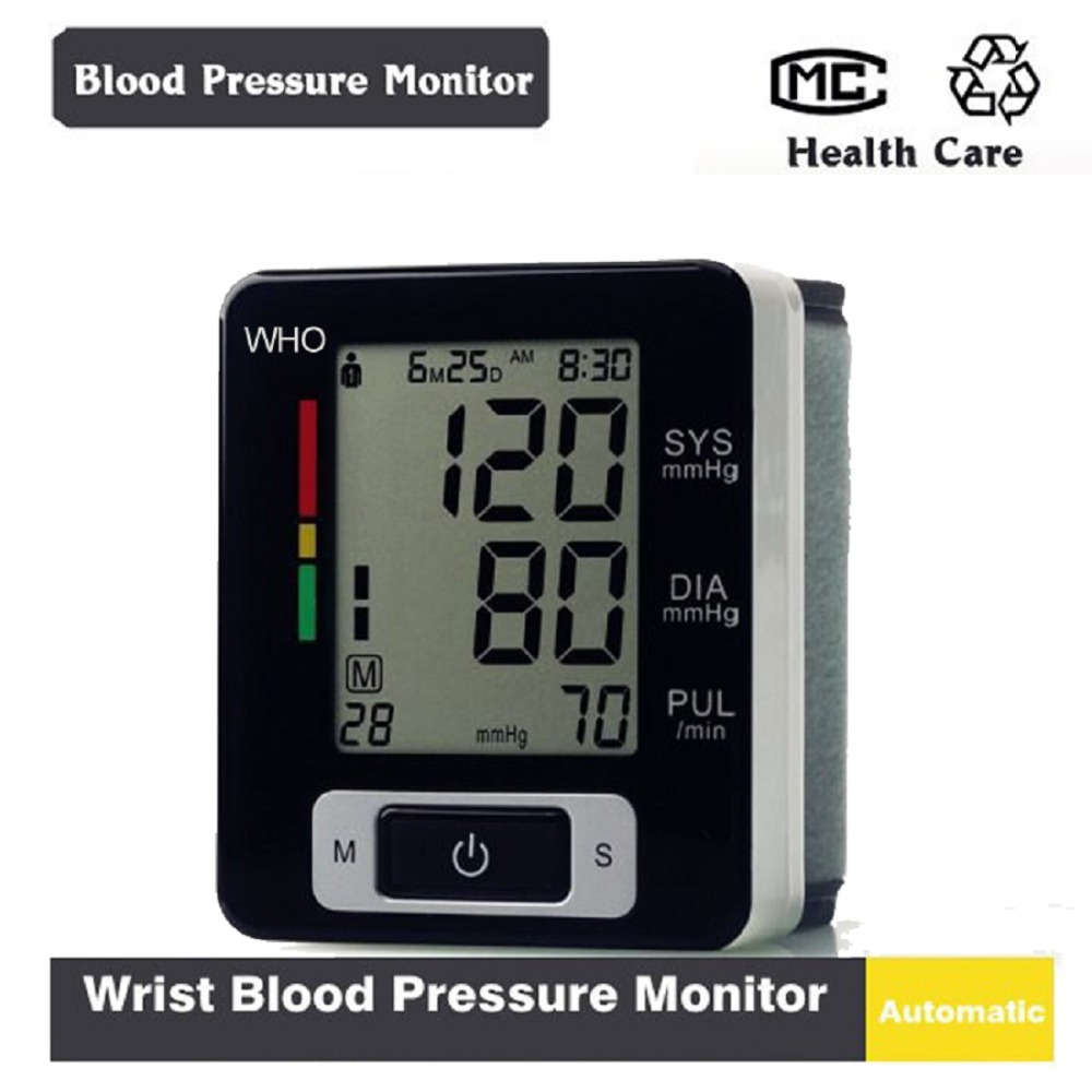 Health Care Automatic Digital Wrist Blood Pressure Monitor Meter Cuff Blood Pressure Measurement Portable Sphygmomanometer(China (Mainland))