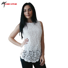 Buy ACEMIRIZ Hot Sale 2017 Summer Spring Women White Lace Blouses Sexy Crochet Lace Tops Womens Sleeveless Chiffon Shirts AWT0002 for $11.69 in AliExpress store