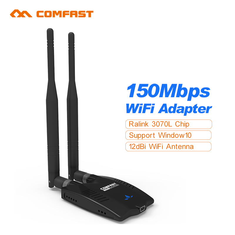 Comfast Ralink 3070 Long distance Wifi USB Wi- fi Adapter 150M Wireless Network Card 2*6 dBi wifi antenna for laptop Window10(China (Mainland))
