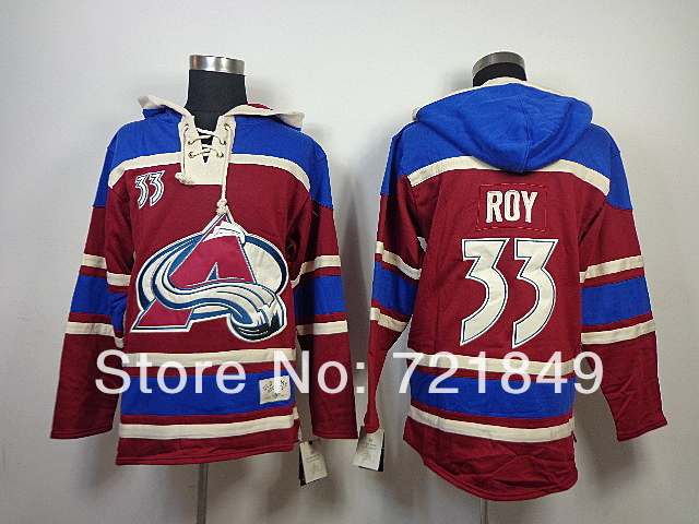 2014 Style! Cheap Colorado Avalanche 33 Patrick Roy Fleece Hooded Mens Jersey Old Time Hockey Hoodies Sweatshirts