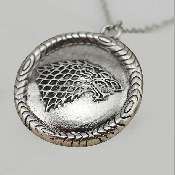 2014 New Design Euro-American Song Of Ice And Fire Game of Thrones Stark Wolf Badge Necklace Pendant Jewelry(China (Mainland))