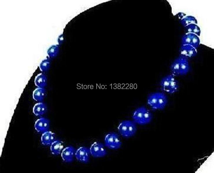 Free shipping! 10mm Egyptian Lapis Lazuli Necklace 18 inches Fashion women and girls jewelry gift JT5465(China (Mainland))