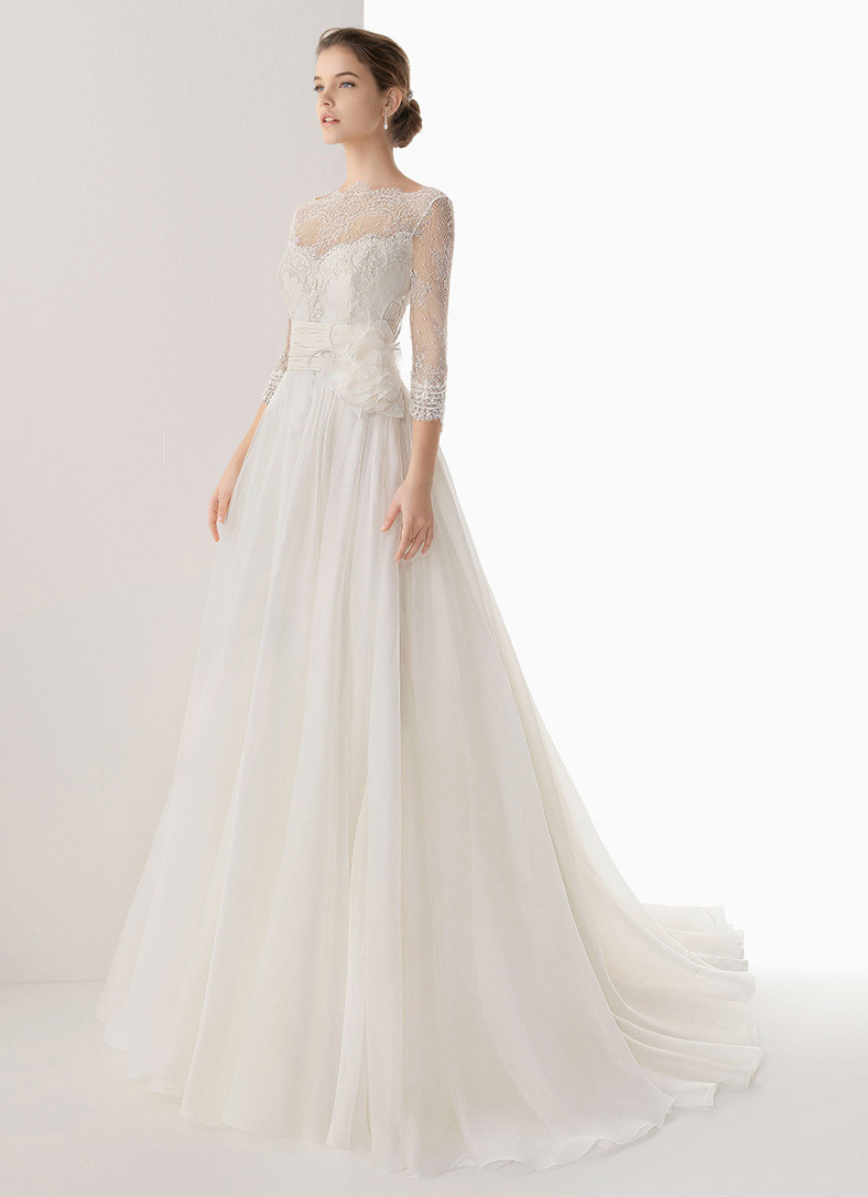 a line train long sleeves with wrap taffeta wedding dress