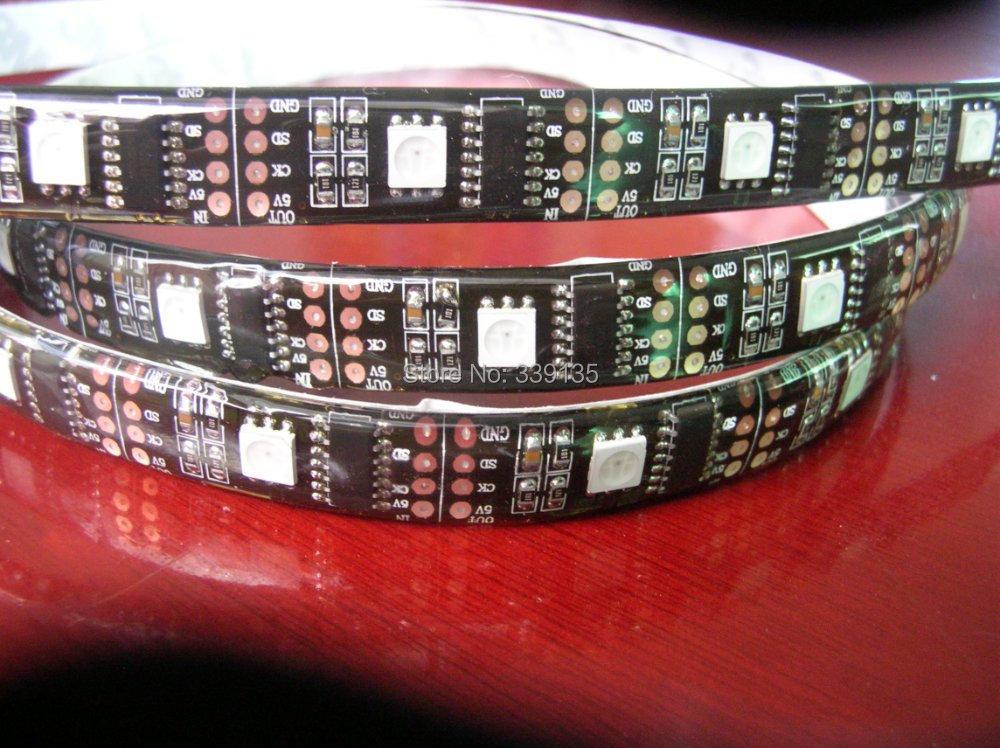 promotion ws2801 addressable rgb magic led strip w2801 pixel light;32leds/m with 32pcs WS2801 IC, DC5V,Black PCB,waterproof IP65(China (Mainland))