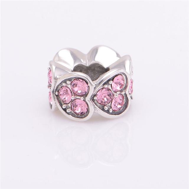 100% 925 серебряные украшения любовь сердца с кристально бусины DIY выводы ввбр женщины подходит европейским очаровывает браслеты