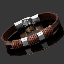Buy 2017 Brown/Black Leather Bracelet Men Jewelry Pulseras Hombre Handmade Charm Bracelets Pulseira Masculina Trendy Mens Jewellery for $2.29 in AliExpress store