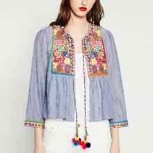 2016 Summer Women Boho Ethnic Embroidery Jacket Long Sleeve Striped Short Shirt Coat Ball Lace Up Vintage Casual Outwear Tops