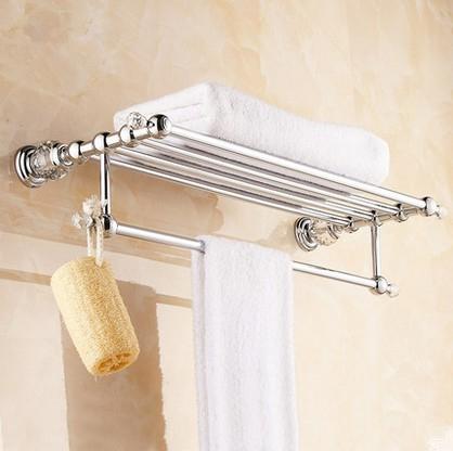 Solid Copper Luxury Crystal Chrome Plating Design Towel Rack, Modern Bathroom Accessories Towel Bars Shelf ,Bronze Towel Holder(China (Mainland))